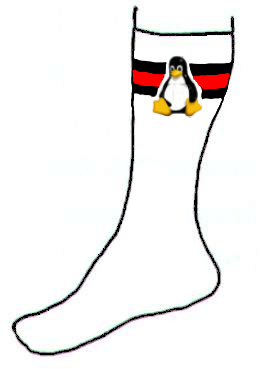 a picture of a penguin and a sock